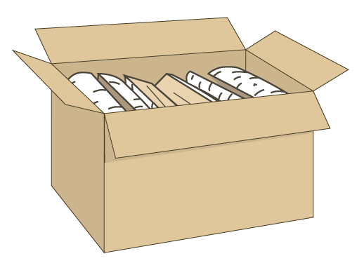 Firewood in a carton box